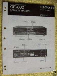 KENWOOD GE 800 GRAPHIC EQUALIZER SERVICE MANUAL