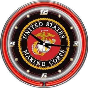 United States Marine Corps Chrome Double Ring Neon Clock   Game Room