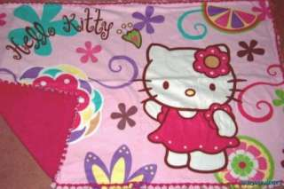 Hello Kitty Pink Tie Blanket Fuchsia Back Fleece Panel