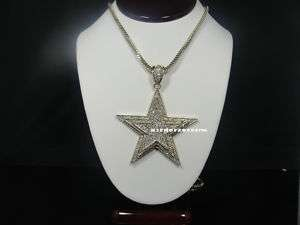 ICED OUT GOLD FINISH 3D STAR PENDANT W/36 FRANCO CHAIN