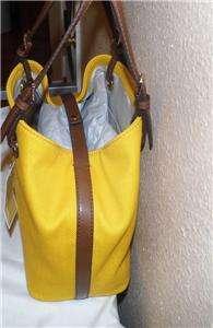 228 Authentic Michael Kors SUN Grab Bag Canvas Leather Open Tote