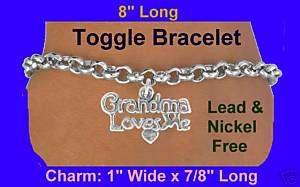 GRANDMA LOVES ME Bracelet Kids Valentine Easter Silver Children Heart