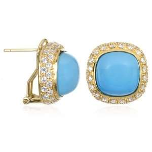 Cushion Turquoise Earring in Gold Plating CHELINE Jewelry