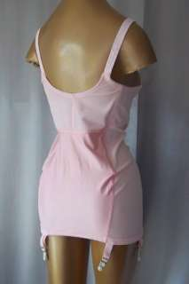 LACY PINK SATIN OPEN BOTTOM ALL IN ONE GIRDLE w/6 GRTS  sz 36 B