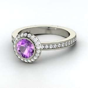 Roxanne Ring, Round Amethyst 14K White Gold Ring with
