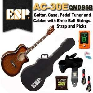 ESP AC 30E QMDBSB Acoustic Electric Guitar, Case, Pedal