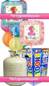 Cylinder & One derful 1st Birthday Helium Foil Balloons First Party