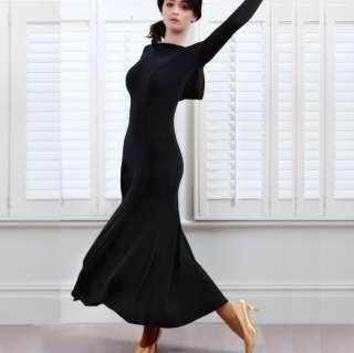 NEW Latin Salsa Ballroom Dance Dress long sleeve dress #HB136 Black