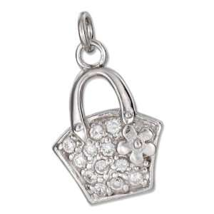 Sterling Silver Pave Cubic Zirconia Hand Bag Charm. Jewelry