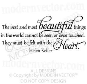 HELEN KELLER Vinyl Wall Quote Decal BEAUTIFUL THINGS