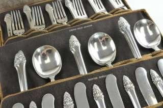 Sterling Silver Sovereign Old 76 Piece Flatware Set No Monos