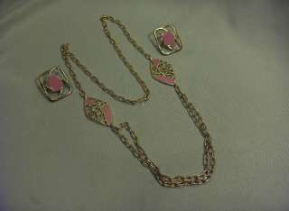 Vintage Costume Jewelry Monet 3 Pc Pink Gold Necklace Earrings