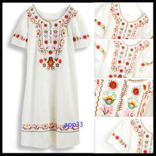Vtg 70s Embroidered MEXICAN Hippie dress BOHO LONG TOP
