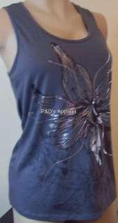 New Womens Clothing Agenda Gray Ladies Misses Tank Top Shirt w Flowers