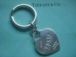 RARE Tiffany & Co. Sterling Silver 1837 Large Heart Key Ring