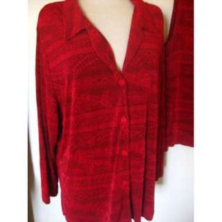 Vikki Vi size 2X PLUS twinset twin set top jacket shirt red print