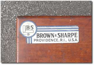 Vintage BROWN & SHARPE Tools WOOD MACHINIST Tool Box Case Chest