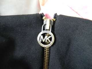 MICHAEL KORS black body con dress with zipper gold detail size 12