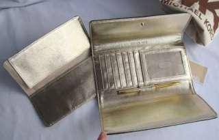 New MICHAEL KORS Logo Black & Brown Checkbook Clutch Wallet w/ pen