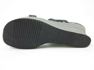 You are bidding on KORS MICHAEL KORS Black White Stripe Wedges Sandals