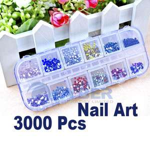 3000pcs Mix Nail Art Rhinestones Color Teardrop Glitter
