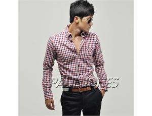 Men's Fashion Casual Slim Fit Dress Shirts Plaid