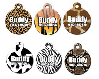 Cute Personalised Animal Print Pet Dog Name ID Tag