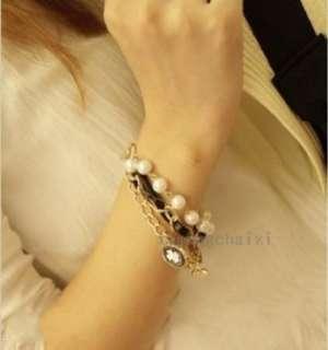 HOT Korean Jewelry Cute Clover Imitation Pearl Multi layer Bracelet