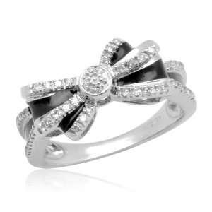 10k White Gold Diamond Bow Ring with Black Enamel, (1/10 cttw, I J