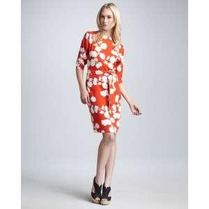 DVF Diane Von Furstenberg MAJA TWO Silk Dress with Belt Halo Buds Red