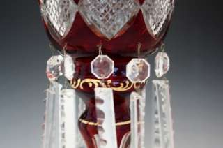 BOHEMIAN ART GLASS CRANBERRY CUT TO CLEAR LUSTRES LUSTERS LARGE PRISMS