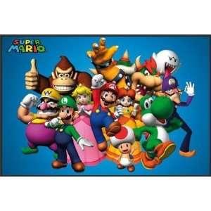 Nintendo Super Mario Group Video Game Poster Framed