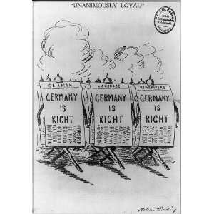 Anti isolationist cartoon,WWI,German newspaper,marching