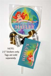 12 ARIEL LITTLE MERMAID Birthday Party LOLLIPOP STICKER