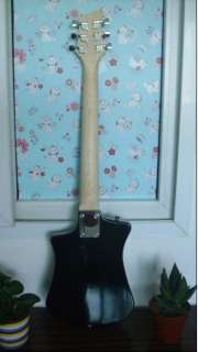 New MINI black Shorty compact Travel Guitar Rosewood Fretboard 001