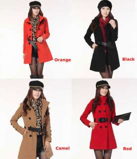 Fashion Women Lady Wool Double breasted Belt Trench Long Coat Thick