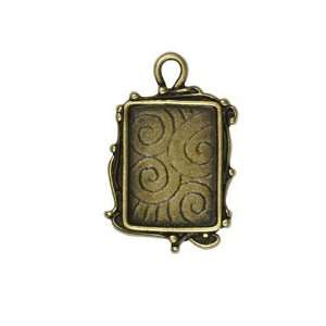 Antiqued Brass Plated Pendant Frame Rectangle Scroll 30