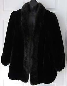 Jordache Beautiful Womens Black Faux Fur Coat 14 / 16