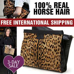Celebrity Handbag Leather Leopard Print Clutch Bag