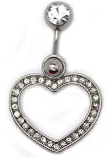 Two Way Clear Crystal Big Hollow Heart Belly Ring G102