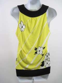 EVA FRANCO Yellow Black Floral Sleeveless Shirt Top 6