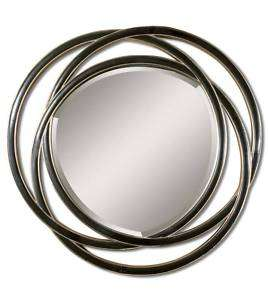MODERN Large Round WALL MIRROR 48 Black Triple Circle