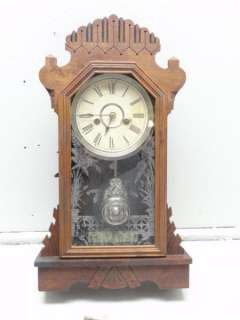 1880s ANSONIA Key Wind Kitchen Gingerbread Shelf Mantel Clock