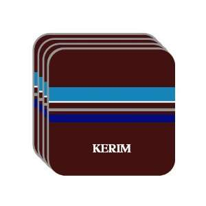 Personal Name Gift   KERIM Set of 4 Mini Mousepad Coasters (blue