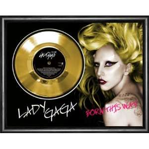 LADY GAGA Born This Way Framed Gold Record A3 Musical