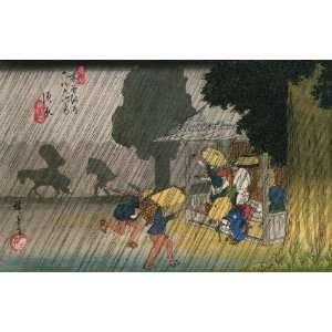 Labels Japanese Art Utagawa Hiroshige People seeking shelter from the