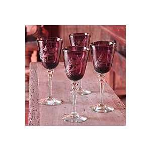NOVICA Eched wine glasses, Grape Blossoms (se of 4