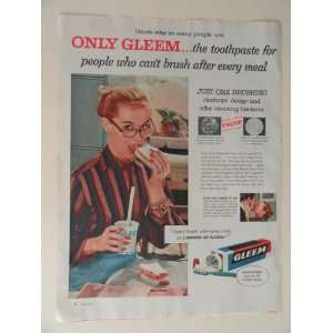 Gleem with GL70 1956 full page print advertisement.(woman