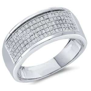 Diamond Wedding Ring White Gold Anniversary Band Micro Pave (1/3 CTW