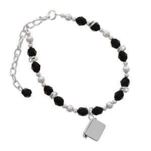 Silver Book   3 D Black Czech Glass Beaded Charm Bracelet
